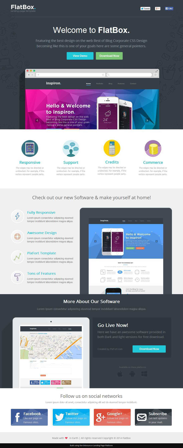 FlatBox - Software Landing Page Template