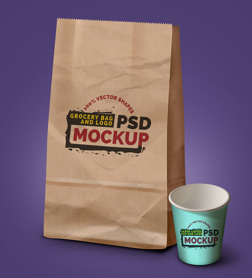 Grocery Bag, Coffee Cup & Logo PSD Mockup