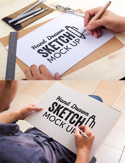 Hand Drawn Sketch Mock Up