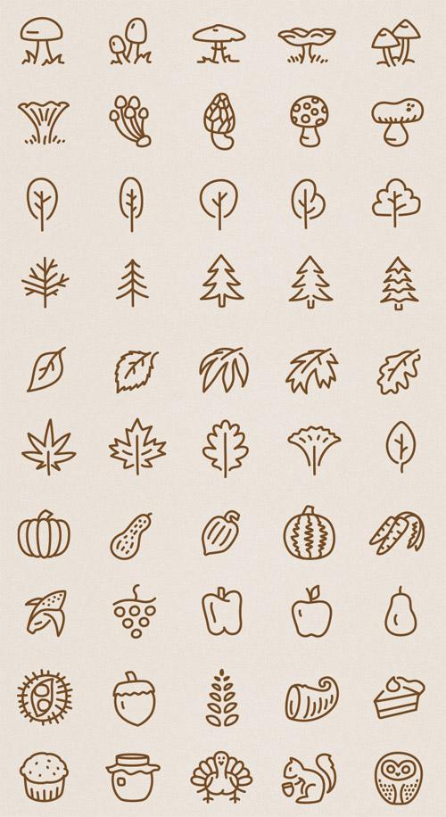 50 Autumn Vector Icons