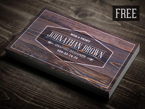 Free Retro Wooden Business Card