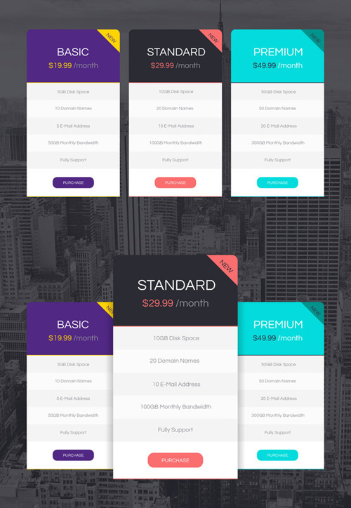 Vector Pricing Tables Design PSD