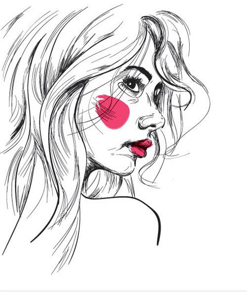 Girl Sketch Vector Graphic