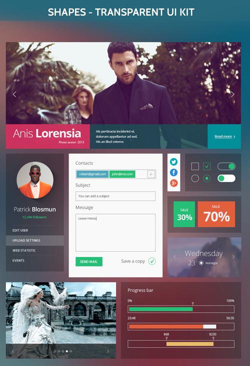 Shapes UI Kit - Free PSD