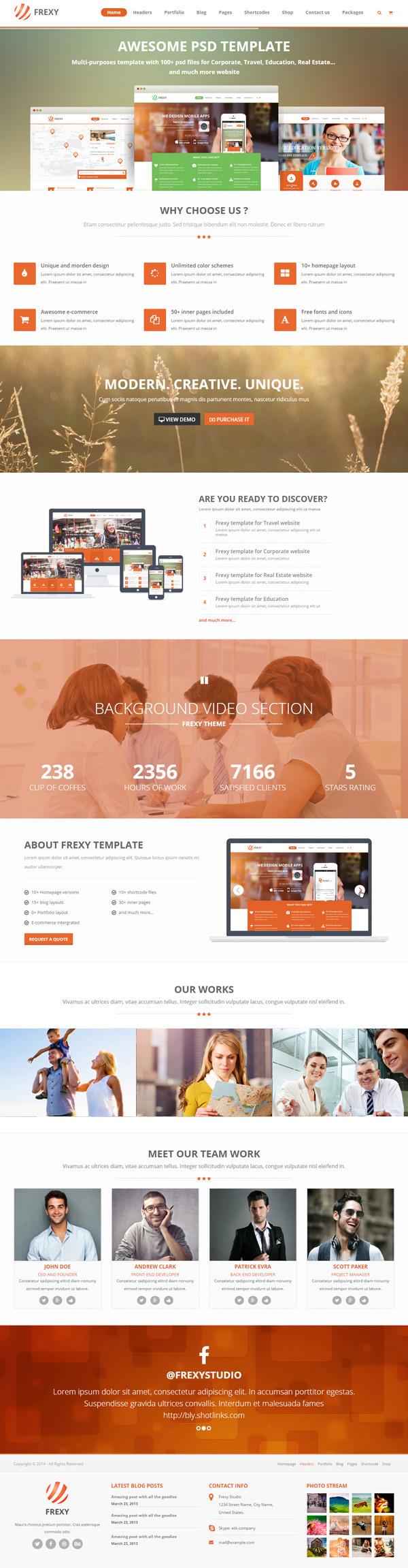 Frexy Responsive Multi-purpose HTML5 Template