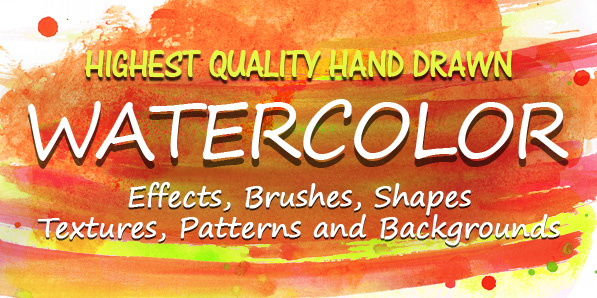 Hand Drawn Watercolor Effects, Brushed & Textures for Designers