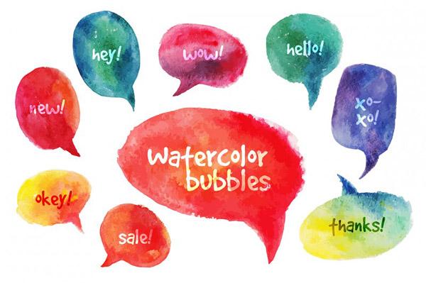 Vector Watercolor Speach Bubbles