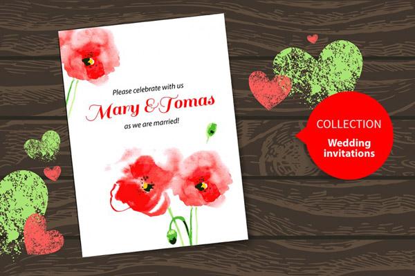 Watercolor Poppy Wedding Invitations