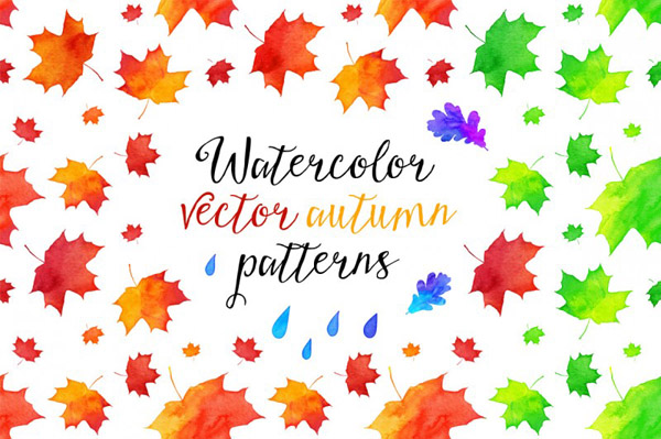 vector watercolor autumn patterns