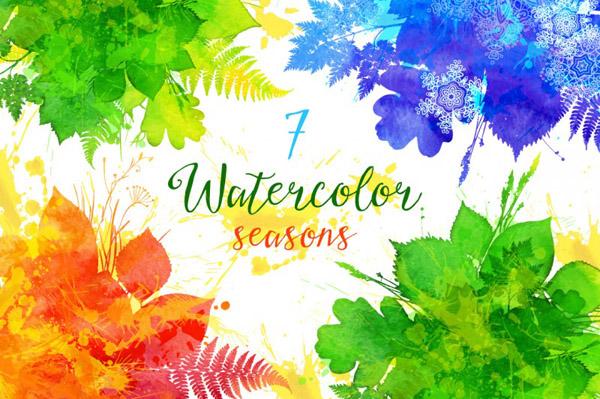 watercolor vector seasons banners