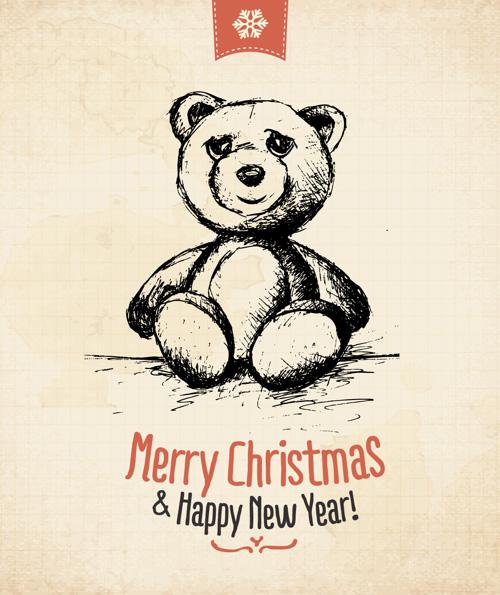 Retro Vintage Hand Drawn Christmas Greeting Cards
