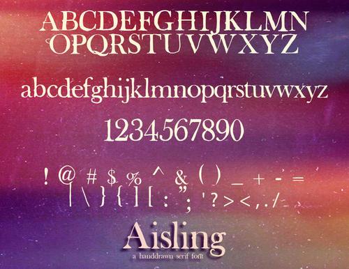 Aisling Serif Font Letters