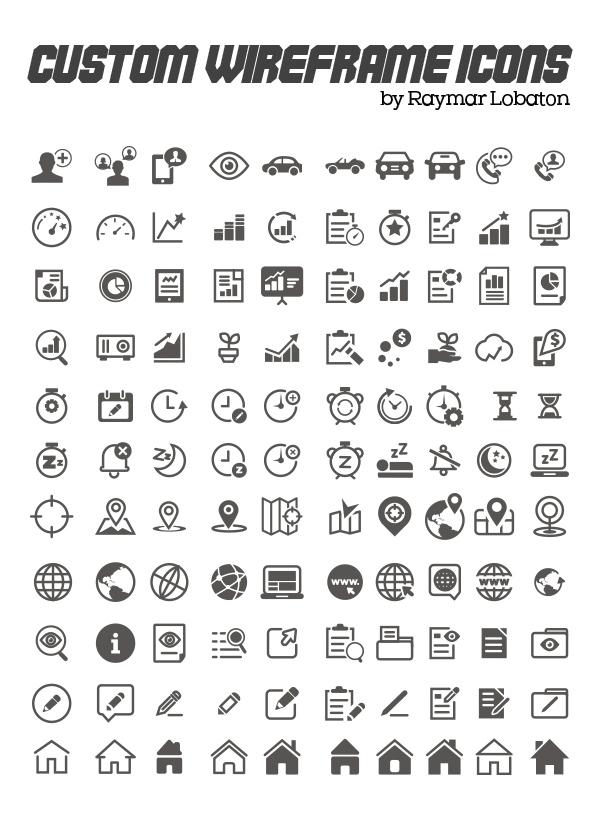 Custom Wireframe Icon Set (110 Icons)