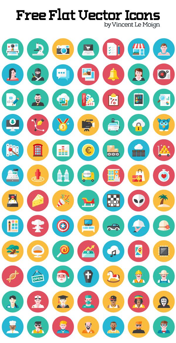 Free Flat Vector Icon Set (120 Icons)