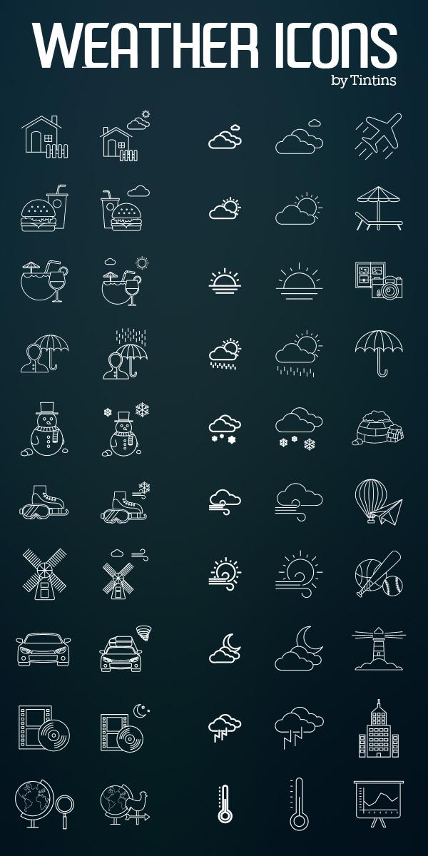 Free Weather & Activities Icon Set (80 Icons)
