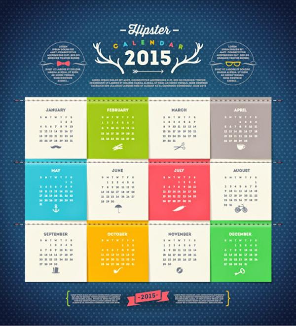 Hipster Calendar 2015 Vector Graphics