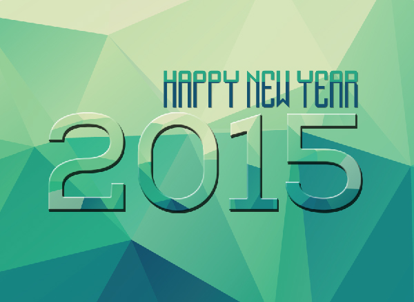 Low-Poly Style New Year Wallpaper 2015