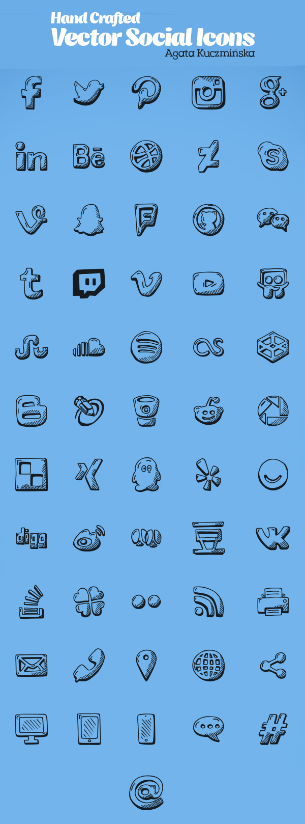 Hand Crafted Vector Social Icon Set (56 Icons)