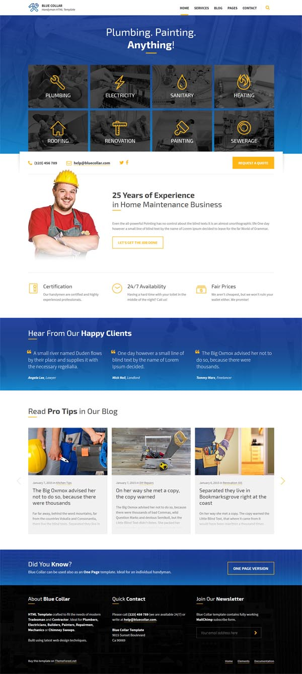 Blue Collar - Handyman HTML Template