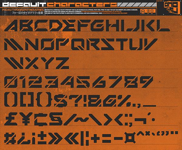 Mechsuit Font Letters
