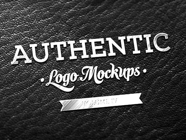 Metallic Dark Leather Logo Mockup