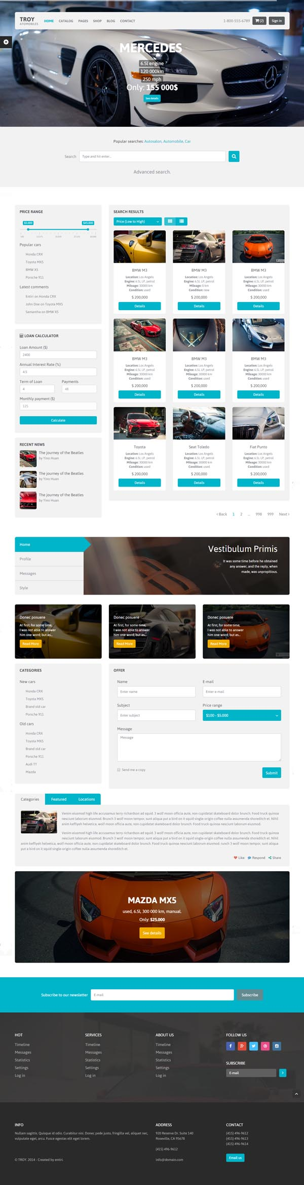 TROY Automotive Cars Portal - HTML Template