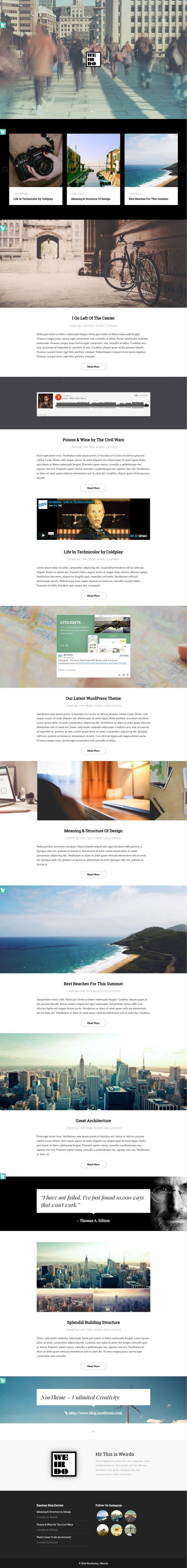 Weirdo - Unique Personal Blog HTML Template