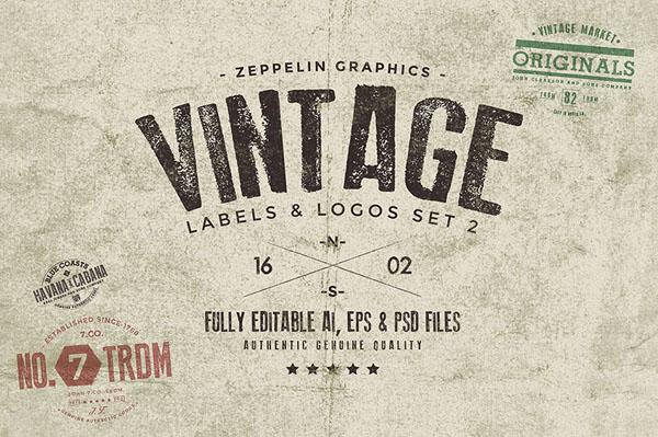 Vintage Badges & Labels Set