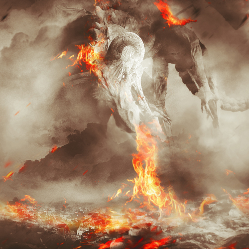 Create Fiery Dragon Ravaging Mountain Village Scene in Photoshop