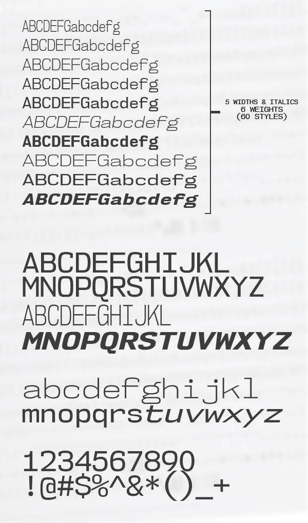 NK57 Monospace Font Letters