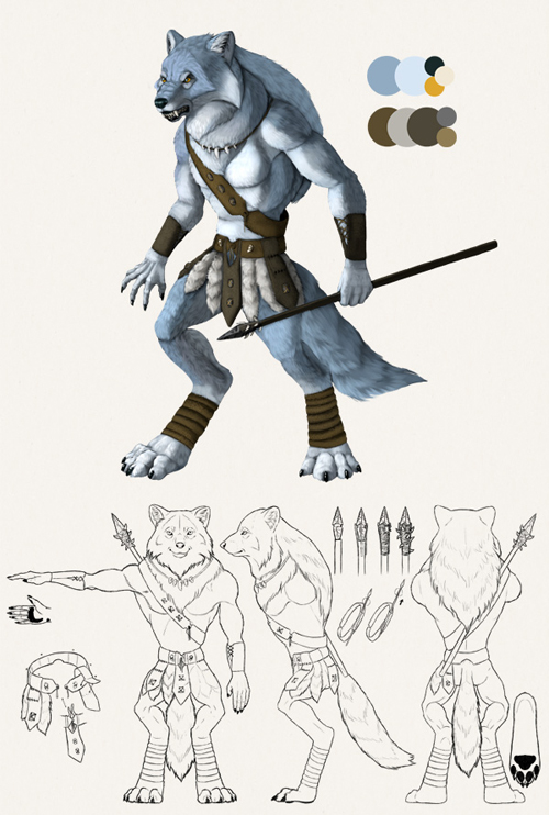 Design a Model Sheet of a Werewolf Warrior in Adobe Photoshop: Painting