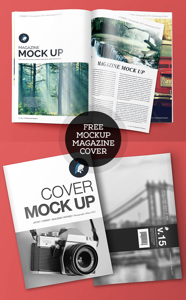 Free PSD Magazine and Cover Mockups