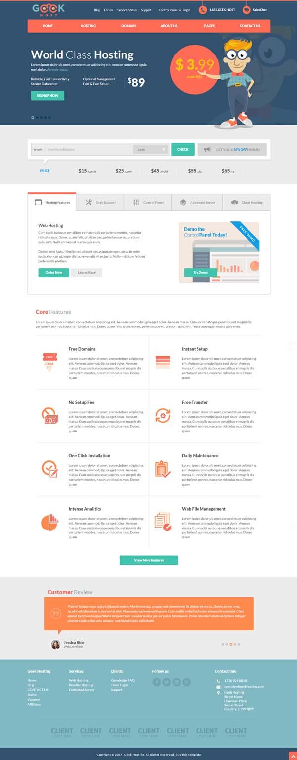 GeekHost - Responsive Hosting Company Web Template