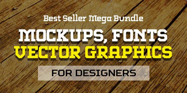 Best Mega Bundle with Presentation Mockups, Fonts and Vector Graphics