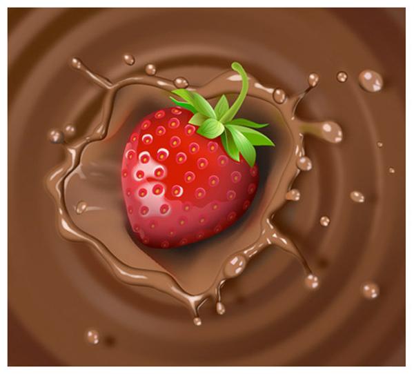 Create Strawberry & Chocolate Milk Splash Illustration in Adobe Illustator