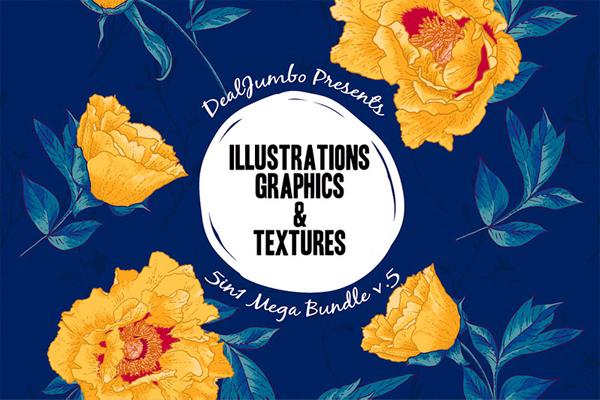 Highest quality Illustrations, Graphics & Textures Mega Bundle