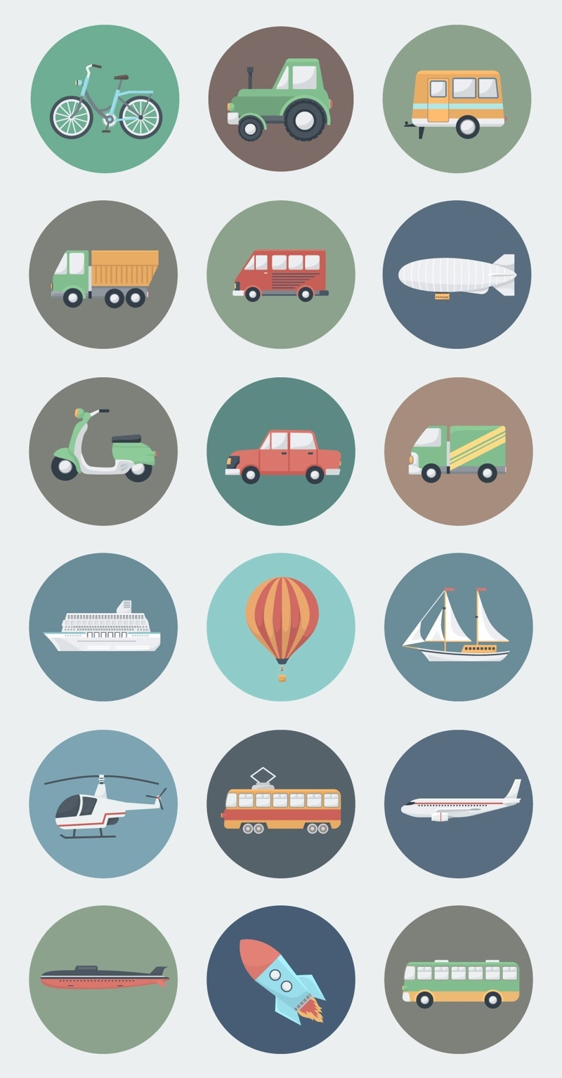 18 Transport Circle Icons in Flat Style