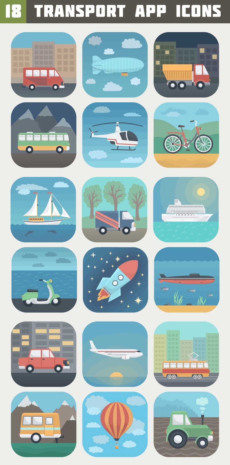 18 Detailed Transport App Icons in Trendy Flat