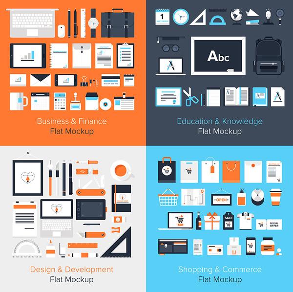 Flat vector mockup on business, education, design, development