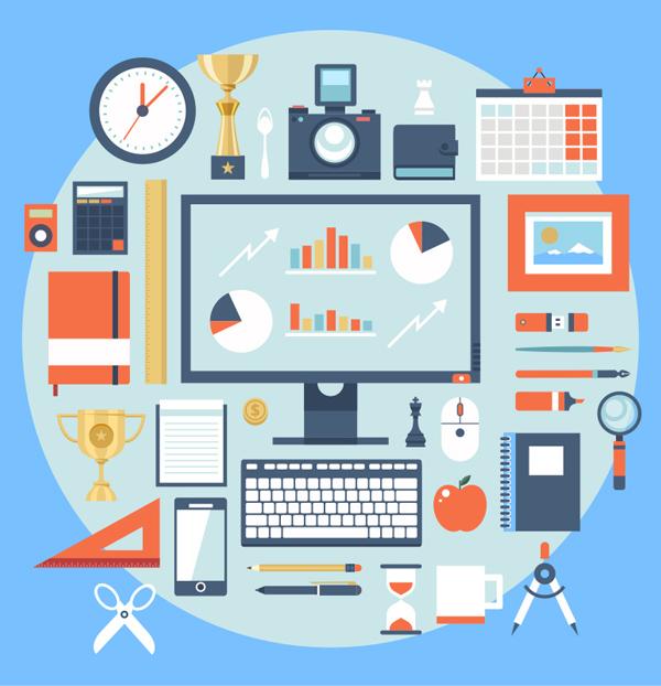 Flat Office Workspaces Set