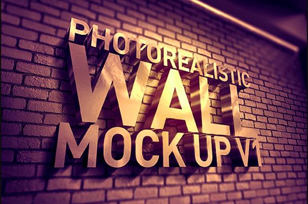 Photorealistic 3d Wall Mock Up