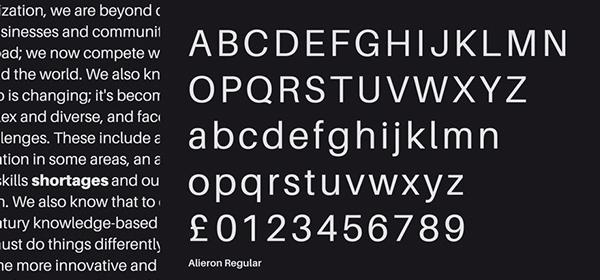 Aileron font letters