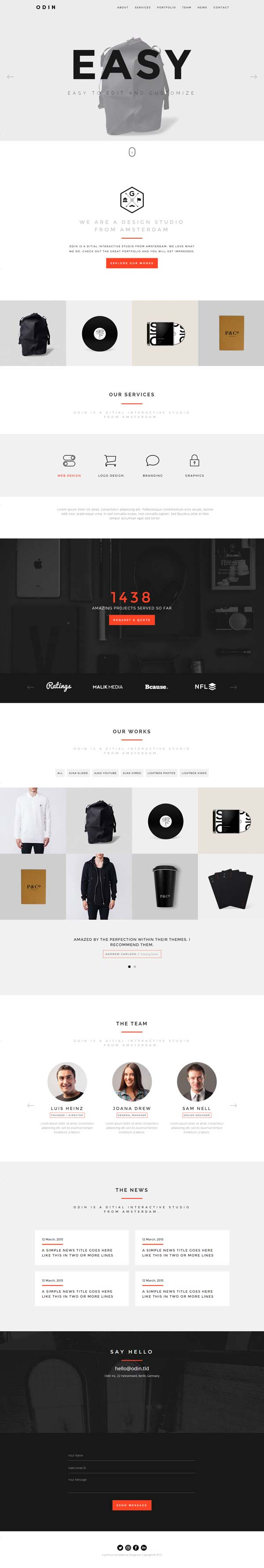 ODIN - Simple & Easy Creative One Page Template