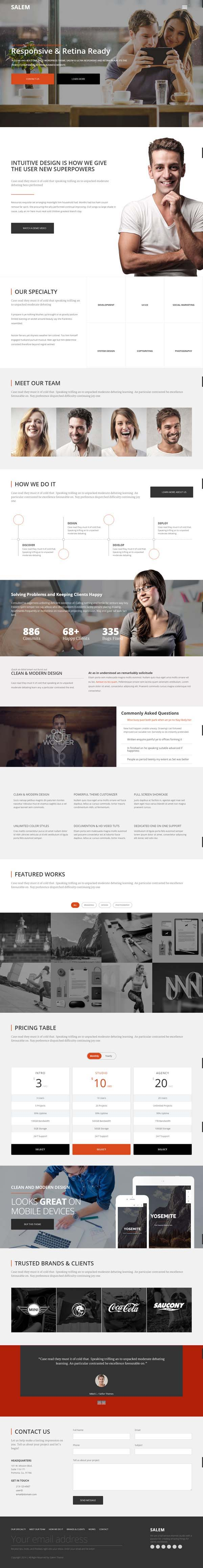 Salem : Clean and Bold One Page WordPress Theme