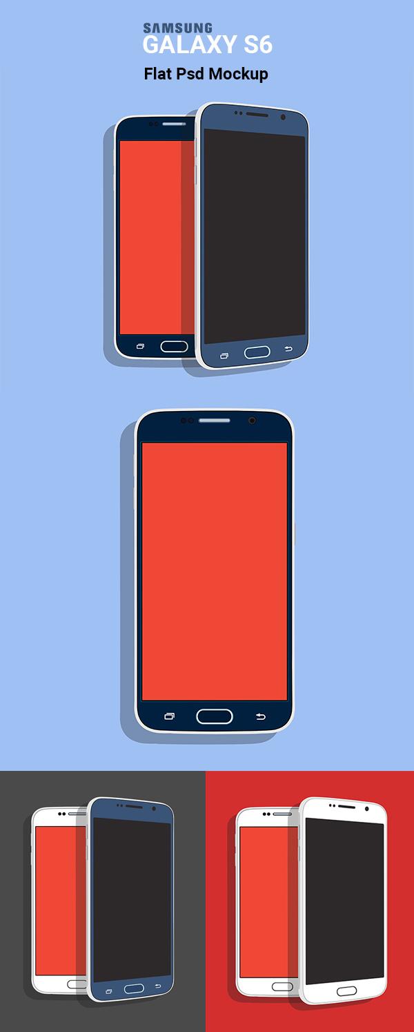 Free Samsung Galaxy S6 Flat PSD Mockup