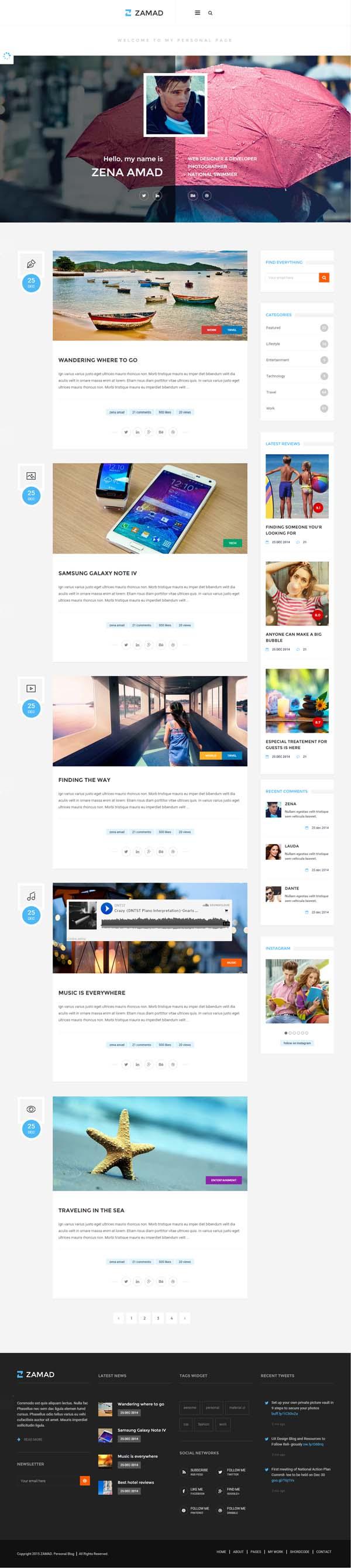 Zamad | Personal HTML5 Blog Template