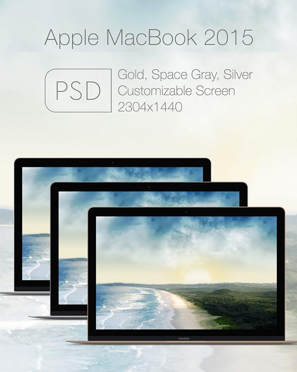 Free Apple Mac Book 2015 PSD Mockup Templates