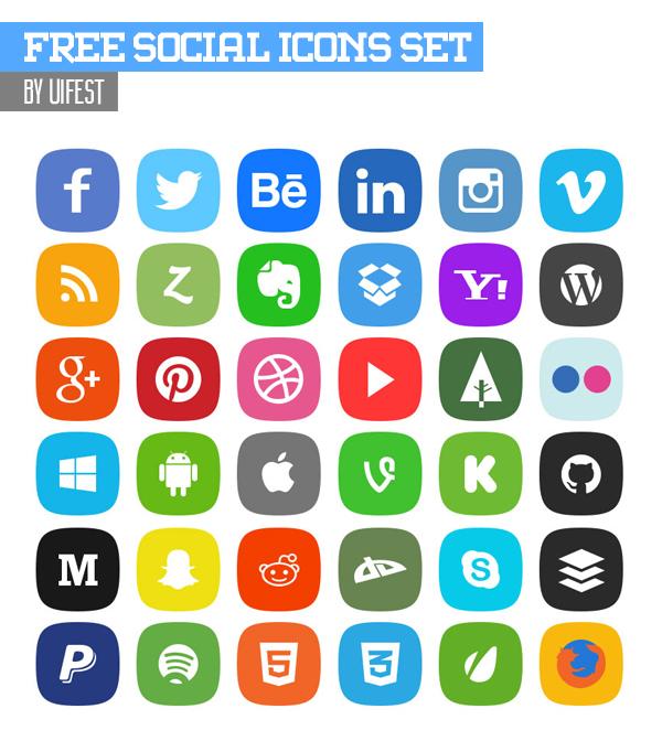 Free Social Icons Set - 36 x 4 Icons (PSD)