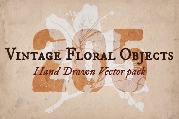 205 Vintage Hand Drawn Floral Objects