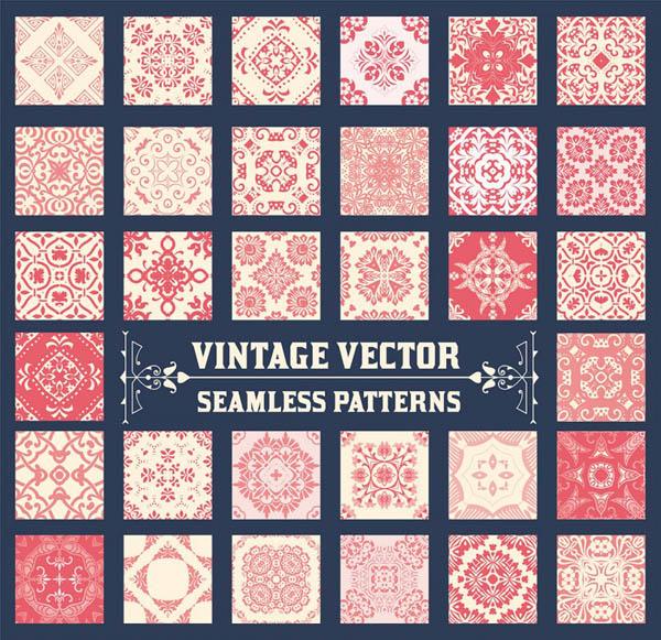 36 Seamless Vintage Patterns Background